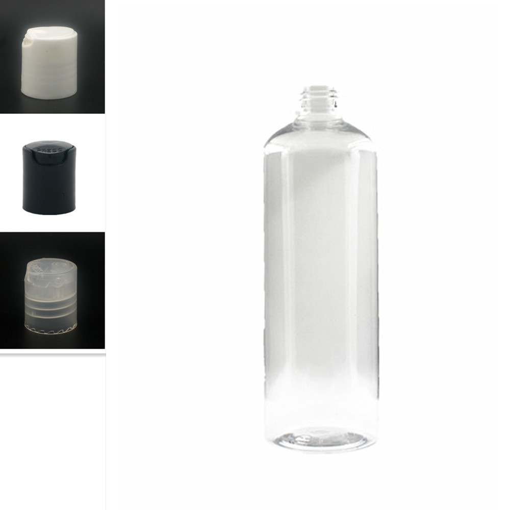 Empty White/black Dispensing Caps Plastic Bottles, 500ml Clear PET Bottle With Disc Top Cap