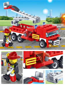 Image 4 - YUKALA  348pcs Fire Fighting Car Helicopter Boat Model Building Blocks City Firefighter Figures Trucks Bricks Childre