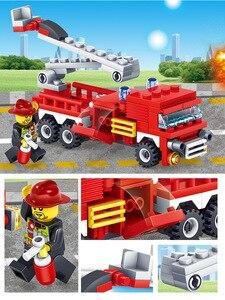 Image 4 - Yukala 348 pçs carro de combate a incêndios helicóptero barco modelo blocos de construção cidade bombeiro figuras caminhões tijolos criança