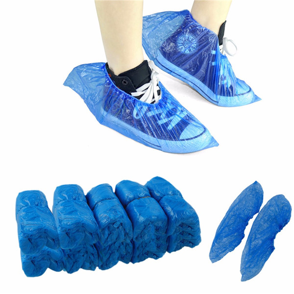 20Pcs Plastic Waterproof 25g Disposable Shoe Covers Rainy Day Carpet Floor Protector Thick Cleaning Shoe Cover Blue Overshoes