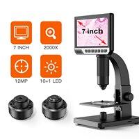 Cámara de microscopio Digital 2000X para bricolaje, microscopios industriales electrónicos con USB, lupa de amplificación continua, pantalla HD de 7