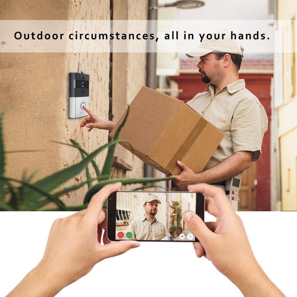 Leshp campainha de vídeo 1080 p sem fio wi fi anel campainha da porta hd 2.4g telefone remoto pir movimento two way falar alarme de segurança em casa - 3