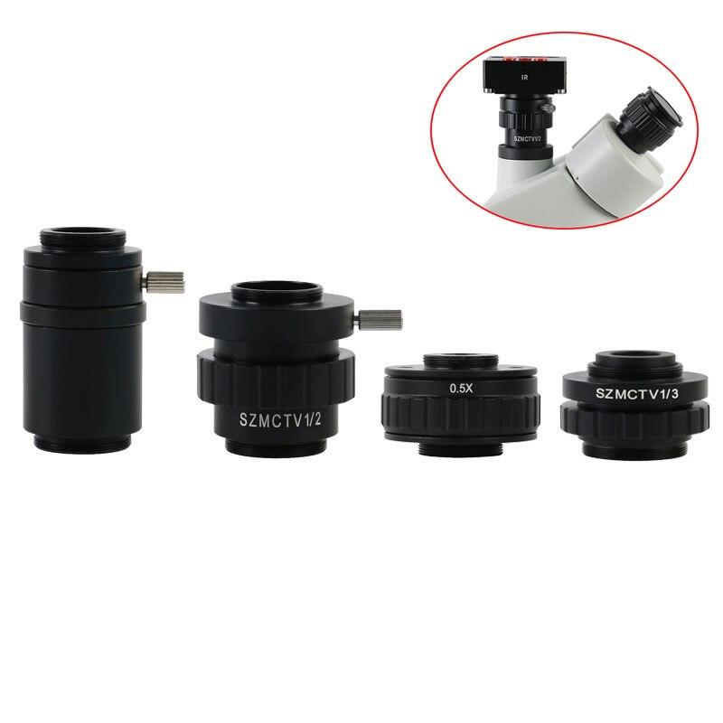กล้องจุลทรรศน์กล้องอะแดปเตอร์ SZMCTV 1/2 1/3 0.5X 1X อะแดปเตอร์ C-mount เลนส์สำหรับ Simul โฟกัสกล้องจุลทรรศน์สเต...