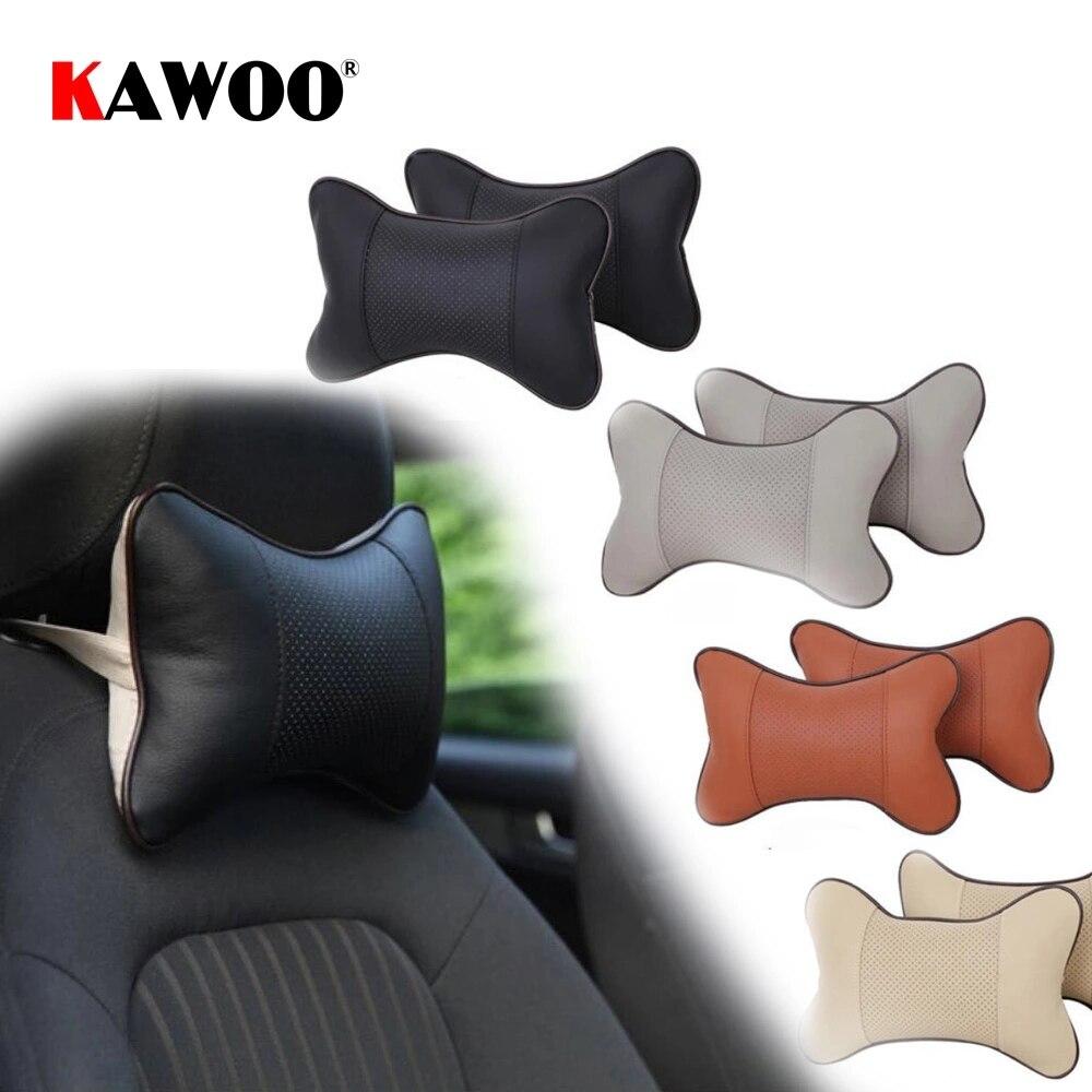 Koooo 1 قطعة صغيرة بولي Leather الجلود 4 مواسم العالمي سيارة مسند الرأس دعم الرقبة وسادة للسيارات السيارات مسند الرأس بالمقعد حشوة وسادة 4 ألوان