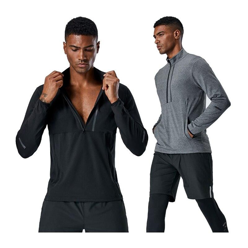 Fitness Long Shirt Men Men Spring Autumn Running Shirts Dry Fit Outdoor Sports Tee Half Zipper Reflectivem Man Training T Shirts