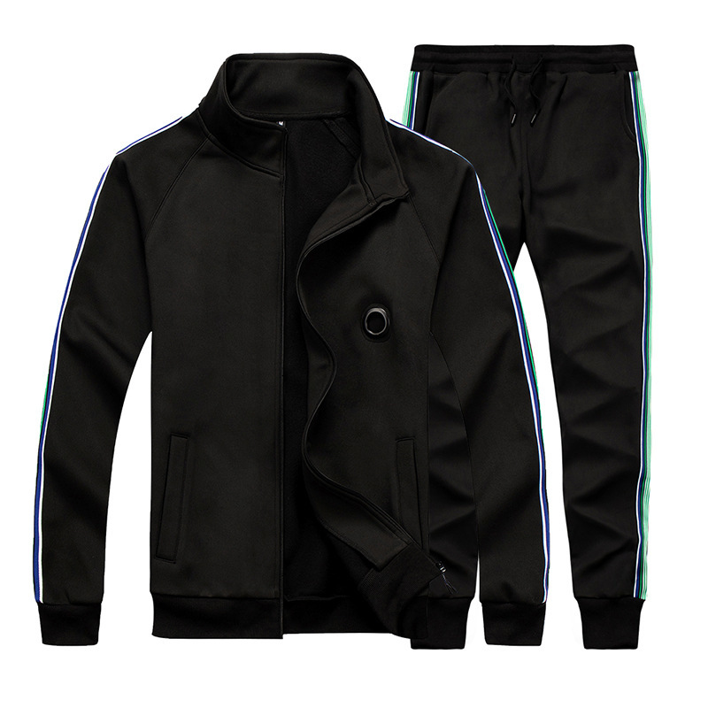 Men's Solid Color Striped Zipper Long Sleeve Two-piece Set Training Jogging Running GYM Sport Suit Men