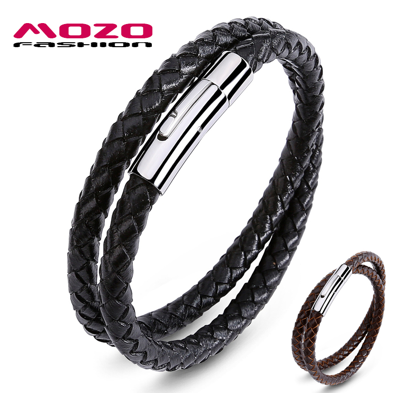 MOZO FASHION Brand Jewelry Men Black / Brown Leather Cuerda Cadena Pulsera de acero inoxidable Hombre Vintage Correa de mano Pulseras 603