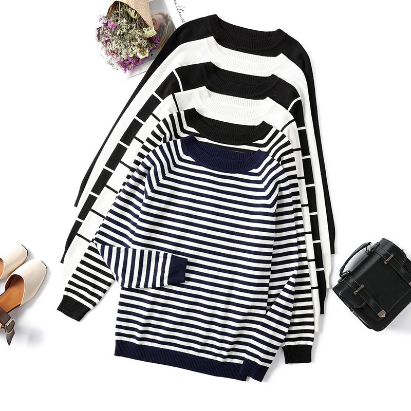 Striped Knitted Long Sleeve Women's Sweater Autumn O-Neck White Black Womens Pullover Sweaters 2019 Winter Casual Jumper Ladies