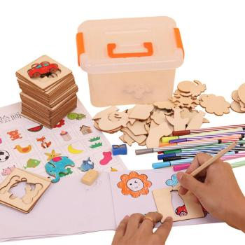 1 Set Kid Painting Board Set Wooden Painting Graffiti Board Coloring Book DIY Craft Kids Toy Early Educational Toys For Children 1