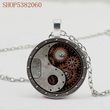 2019/round Gear Pendant Necklace Connector, Stylish Steampunk Style Crystal Pattern Pendant Necklace stylish layered round pendant necklace for women