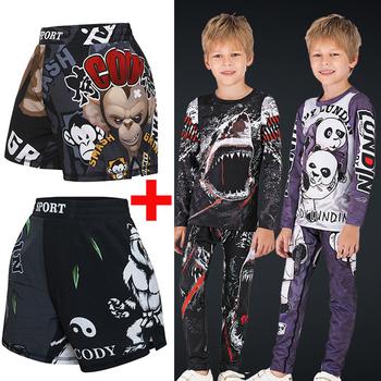 Dzieci MMA zestaw bokserski koszulki kompresyjne + spodnie dzieci Rashguard trening obcisłe koszulki spodnie nastolatki wysypka straż odzież tanie i dobre opinie Pasuje prawda na wymiar weź swój normalny rozmiar Chłopcy Anty-pilling O-neck Pełna Drukuj FD78 Poliester Fabric composition