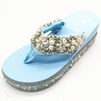 HAHAFLOWER  women wedge platform sandals flowers pearl summer shoes outdoor slippers slip on rhinestones  sandal lady shoes