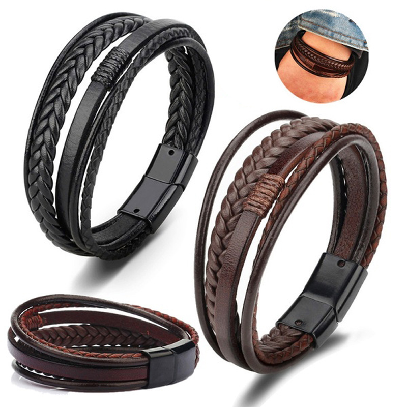 Bracelet for Men Multilayer Genuine Leather Bangles Magnetic Clasp Cowhide Braided Wrap Trendy Bracelet Armband pulsera hombre