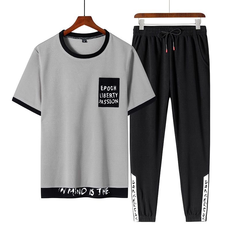 Plus 8XL 7XL Men Short 2PC Top Set Summer Sportsuits Set 2020 Mens ONeck Collar Fashion 2 Pieces T-shirt Shorts Tracksuit