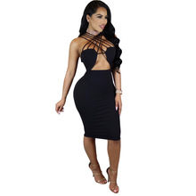 Women  Dresses  Polyester  Sexy  Club  Sleeveless  Hollow Out  Knee-Length  Strapless  Elegant   Bandage Hollow out   Dresses elegant hollow out body chain for women