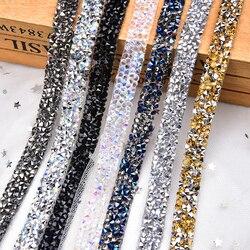 2Yards/5Yards/Lot BlingBling Rhinestone Tape Trim Strass Chain Banding Crystal Stone Wedding Applique Dresses Crafts 10mm Width
