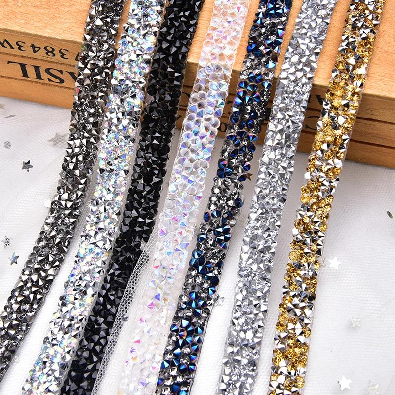2Yards/5Yards/Lot BlingBling Strass bande garniture Strass chaîne baguage cristal pierre mariage appliques robes artisanat 10mm largeur
