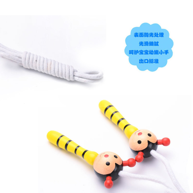 Young STUDENT'S Safe Pure Cotton Kindergarten Jump Rope Cartoon Wooden Handle Baby Wear-Resistant 7-Foot Sports Unisex