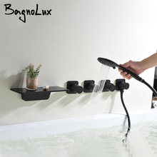 Bagnolux черный латунный водопад носик с ручной душевой головкой