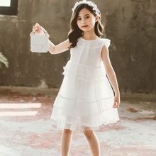 Ruffles Princess Party Dress Girls Clothes Flower Girl Dresses 4 5 6 8 10 12 14 Years Kids Dress Teenage Girl Clothing White(China)