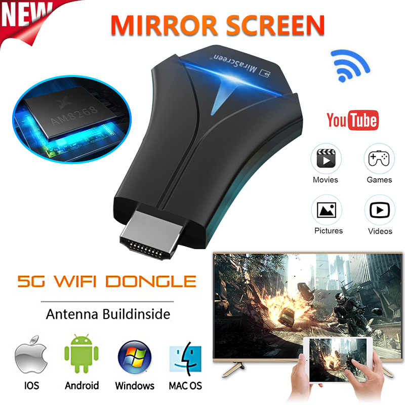 TV Stick Adapter Wifi Display Mirror Receiver Dongle Chrome Cast Wireless 1080p for Ios Andriod AirPlay MiraCast DLNA HD