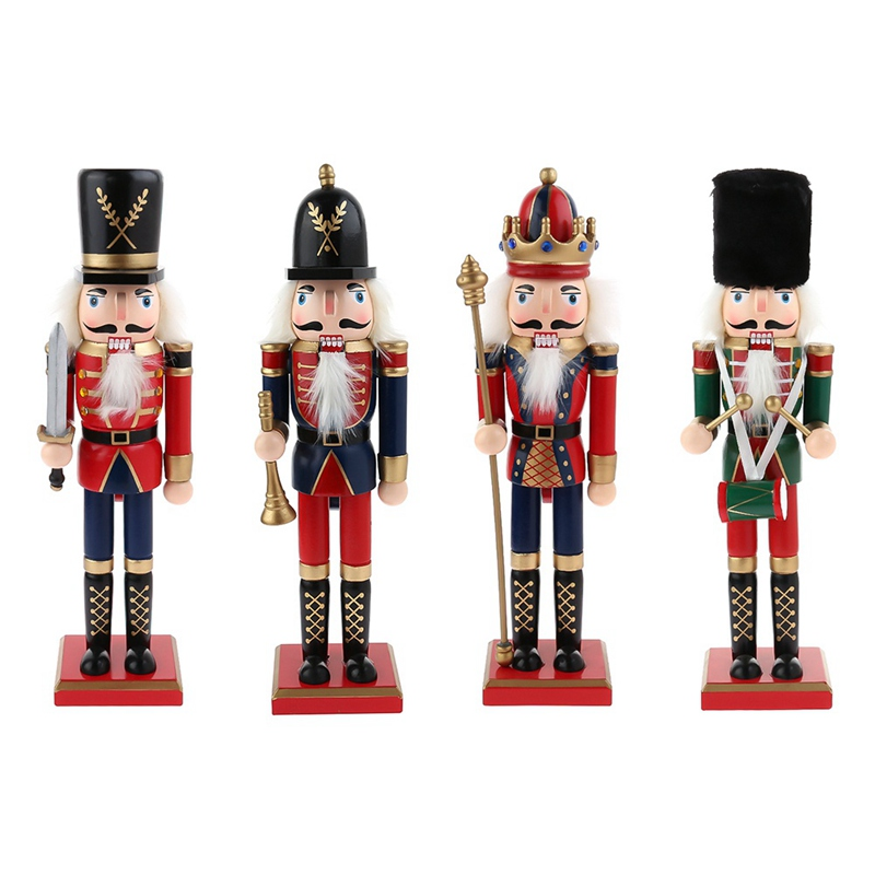 1pcs 30cm Handpainted Wooden Nutcracker Figurines Christmas Ornaments Dolls For Friends and Kids Home Decoration Accessories|Figurines & Miniatures| |  - title=