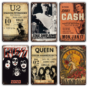 Rock N Roll Metal Poster Tin Sign Vintage Lennon Doors Kiss Queen Band Metal Sign Shabby Chic Man Cave Home Wall Sticker Decor kiss rock n roll metal plaque tin sign vintage lennon poster decorative metal plate signs pub bar man cave home wall decor