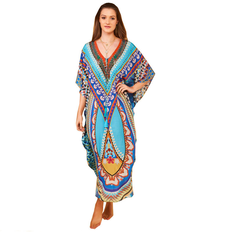 New Style Cotton Positioning Printed Beach Skirt Holiday Skirt Bikini Outer Blouse One Piece Long Skirts Sun Shirt Women's