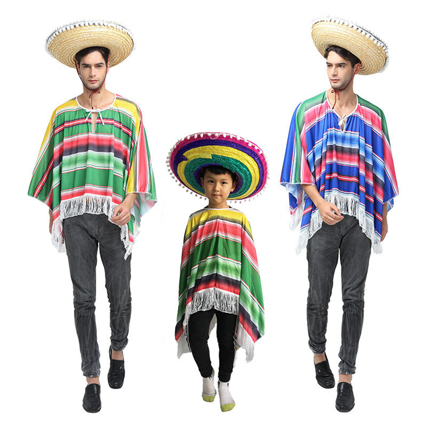 Mexican Cosplay Party Holiday Costumes Mexico Traditional Clothing Performance Halloween Costumes for Adult Kid Tops+Hat Set