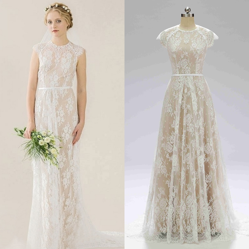 BOHO Bohemian Vintage Lace Bridal Gown Champagne Lining Wedding Dress Real Price Real Factory Sample Photo