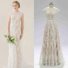 Vestido de novia bohemio vintage de encaje champán vestido de novia precio real foto de muestra de fábrica