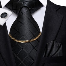 Mens Tie Cufflinks-Set Tie-Chain Silk Hi-Tie Wedding Nickties Black Design Luxury Hanky