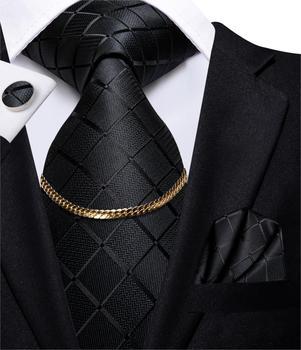 Hi-Tie Business Black Luxury Plaid Mens Tie Silk Nickties  Fashion Tie Chain Hanky Cufflinks Set Design Gift For Men Wedding mens tie black gold striped design fashion silk wedding tie for men party business tie hanky cufflinks set dropshipping