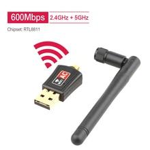 600 mb/s adapter usb WiFi dwuzakresowy 2.4GHz WiFi 5GHz z anteną PC minikomputer karta sieciowa Ethernet PC odbiornik WiFi