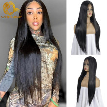 Perruque Lace Front wig sans colle synthétique lisse – yomyic, perruque Lace wig noire avec Baby Hair, perruque pre-plucked pour femmes