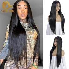 Yomagic Color negro pelo sintético frente de encaje pelucas con minimechones recto sin costuras pelucas de encaje con desplumado para las mujeres