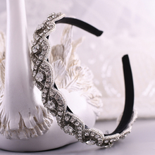 TRiXY S28-FG Crystal Headpiece Wedding Bridal Headbands for Wedding Beaded Headband Baroque Fashion Personality Hair Hoop
