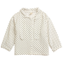 Детская одежда для девочек, г. Осенняя одежда стиль, корейский стиль, рубашка в горошек верхняя одежда с длинными рукавами в западном стиле для девочек