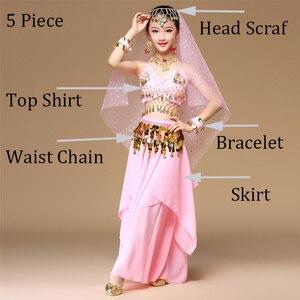 Image 3 - 5 teile/satz Rosa Stil Kinder Bauchtanz Kostüm Oriental Dance Kostüme Bauchtanz Tänzerin Kleidung Indischen Tanz Kostüme Für Kinder