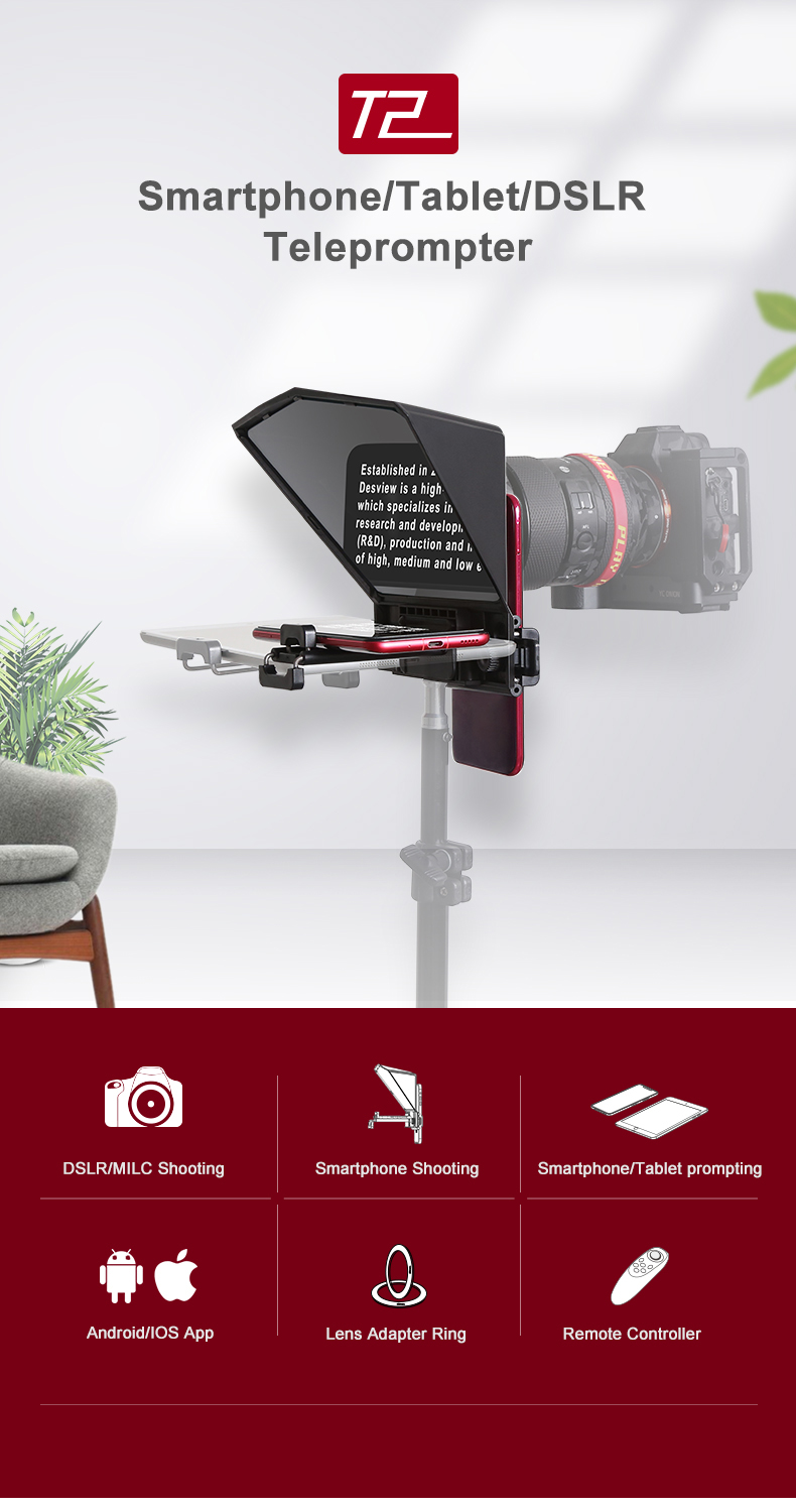 01 Desview Portable Teleprompter за смартфон  таблет  DSLR камера за YouTube Interview Studio Bestview T2 с дистанционно управление