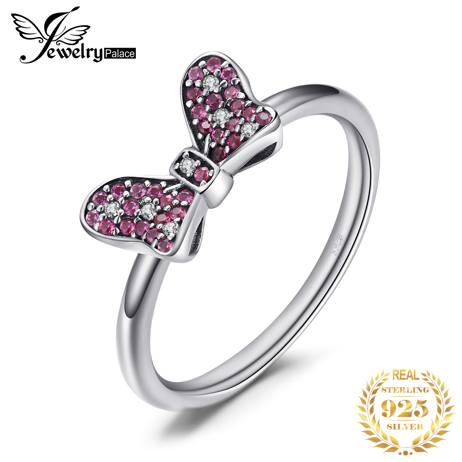 JewelryPalace 925 Sterling Silver GLiter ButterfLy Knot Beautiful Ring Gifts For Her Anniversary Fashion Jewelry New Arrival
