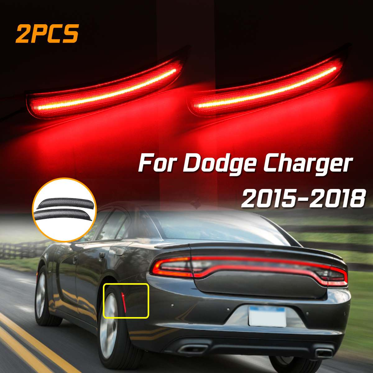 1 Set Front / Rear Side Marker Lamps With Red / Amber LED Lights Turn Signal Light For DODGE CHARGER 2015 2016 2017 2018