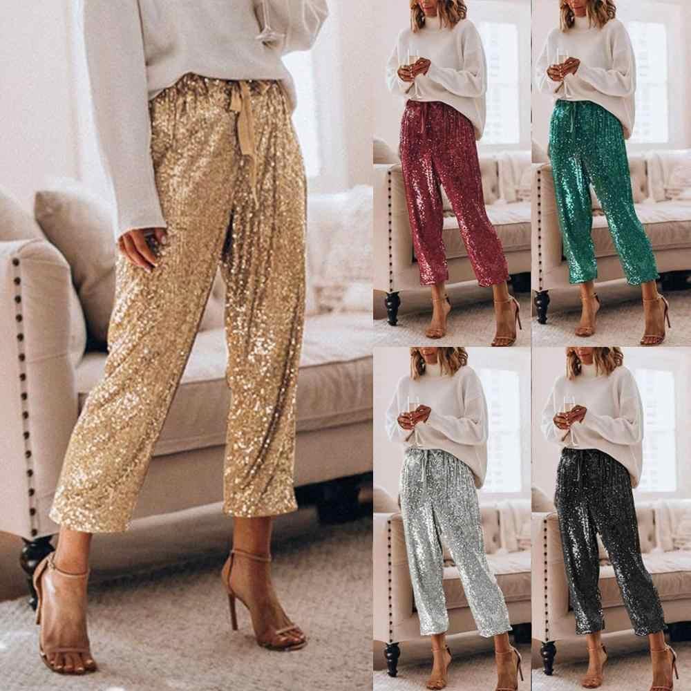 Pantalones De Moda Para Mujer Nuevo Estilo Pantalones De Tela De Lentejuelas De Cintura Alta Sexy Cinta Para El Pie 2020 Pantalones Y Pantalones Capri Aliexpress