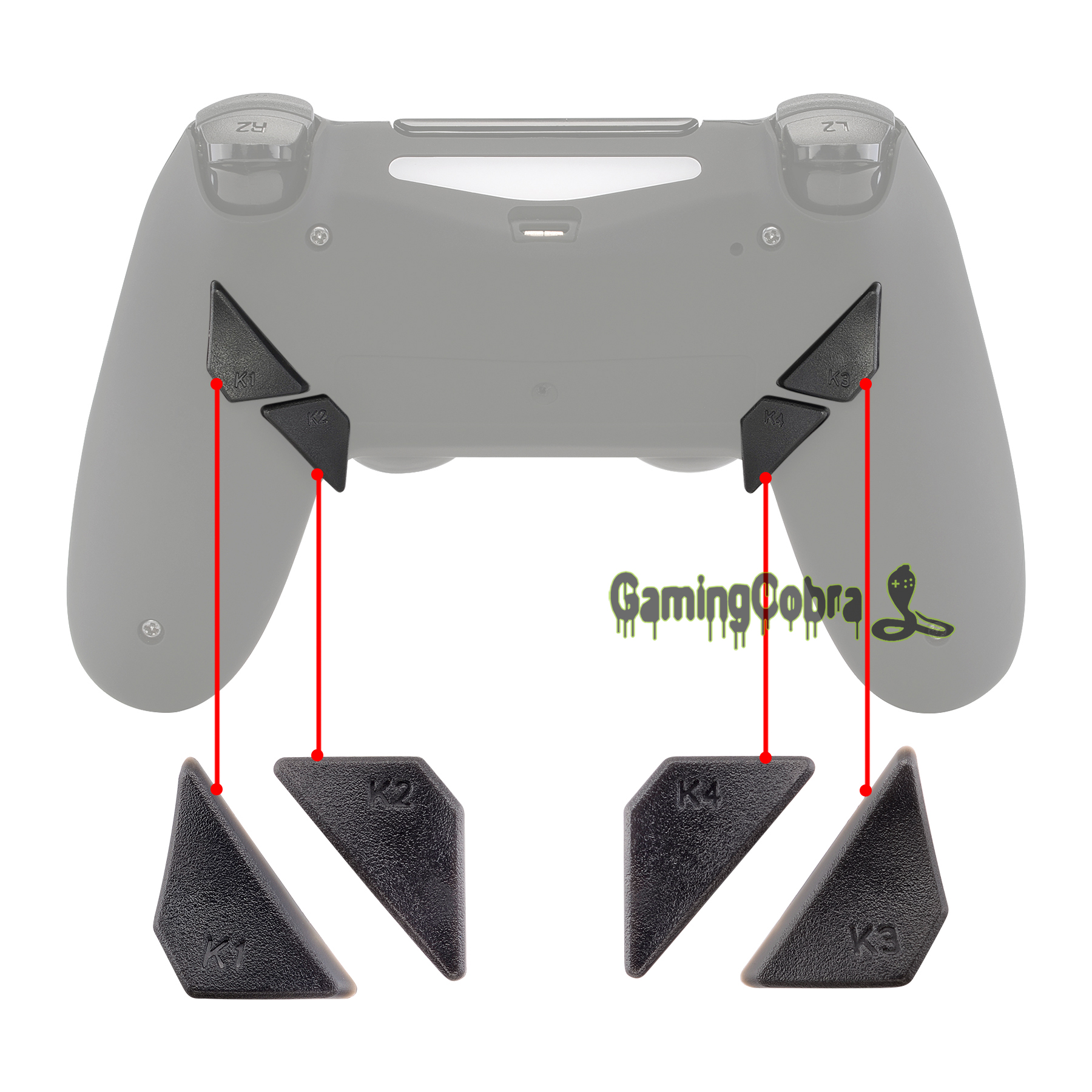 Solid Gray Replacement Redesigned Back Buttons K1 K2 K3 K4 Paddles For EXtremeRate PS4 Controller DAWN Remap Kit