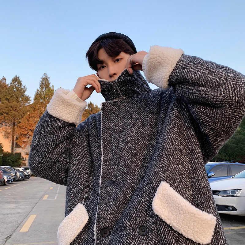 Зимнее пальто средней длины в стиле Харадзюку из овечьей шерсти с текстурой, Мужское пальто в Корейском стиле, Толстая Повседневная теплая хлопковая стеганая куртка