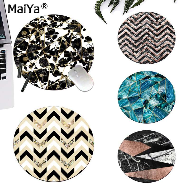 MaiYa Design <font><b>Black</b></font> <font><b>and</b></font> <font><b>White</b></font> Marble <font><b>and</b></font> Rose Gold round <font><b>Mouse</b></font> <font><b>pad</b></font> PC Computer mat gaming Mousepad Rug For PC Laptop Notebook image