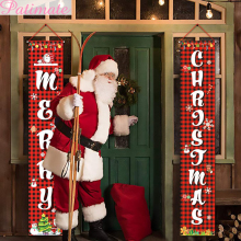 Christmas Hanging Flag Merry Outdoor Ornaments Decorations for Home Santa Claus Door Banner Xams Noel 2019
