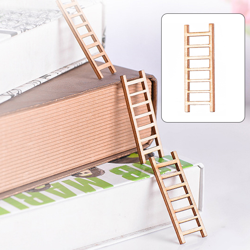 Stairs Miniature Statues Wood Emulation Miniature Craft Figurine Fairy Garden Cartoon Mini Ornament Kids Outdoor Living