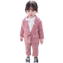 Baby Girl Boy Suit Set Plaid Pattern Clothing For Girls Outerwear + Pants Girls Clothes