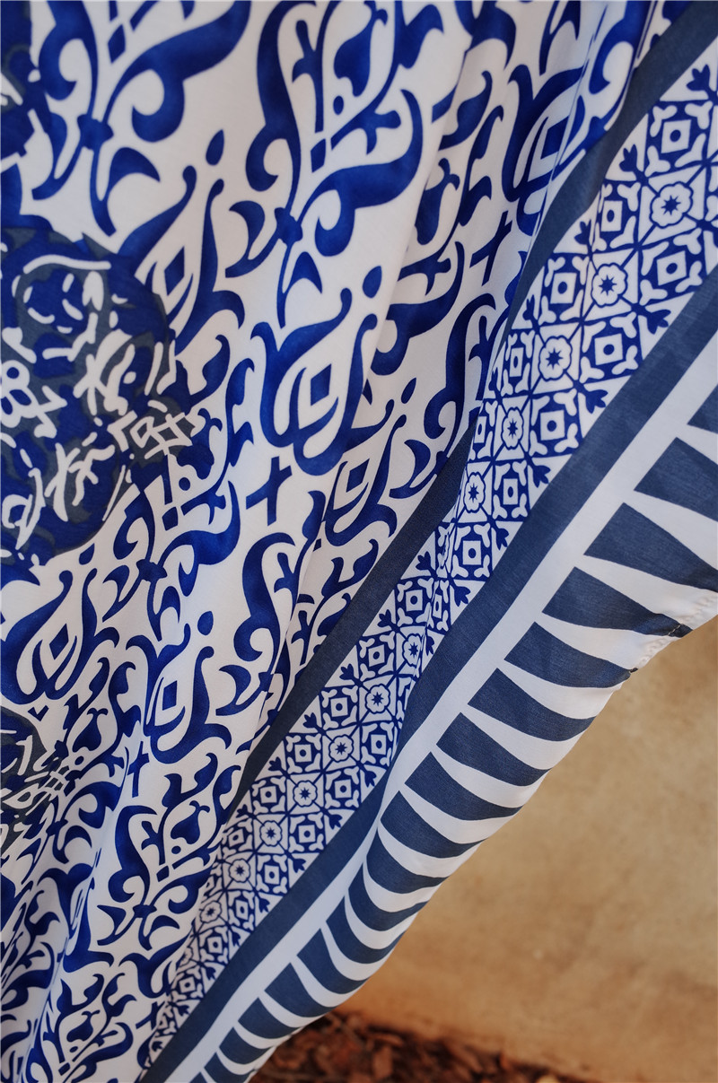 Image 5 - Cotton Long Beach Dress Swimwear Cover up Sarong Beach Wrap Tunicas Playa Mujer Pareos Swim suit cover Up Beach Wear Tunic  Q642Cover-up   -